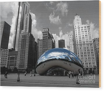 Cloud Gate B-w Chicago Wood Print by David Bearden