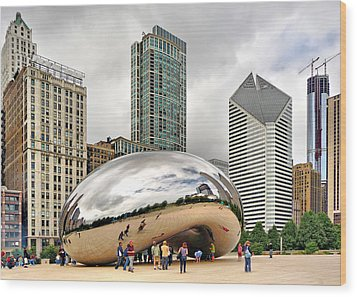 Wood Print featuring the photograph Cloud Gate In Chicago by Mitchell R Grosky