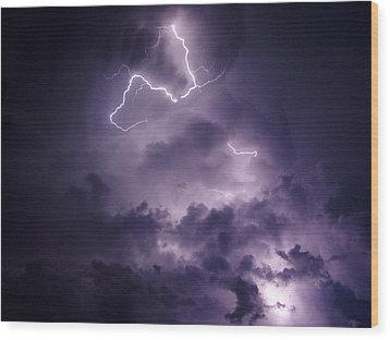 Cloud Lightning Wood Print