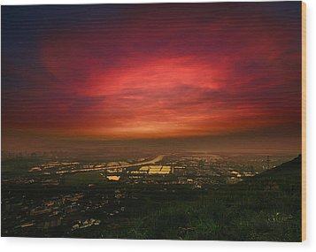 Wood Print featuring the photograph Cloud On Fire by Afrison Ma