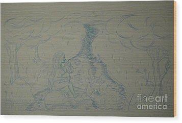 Cloud Tree Pond Wood Print by James Eye