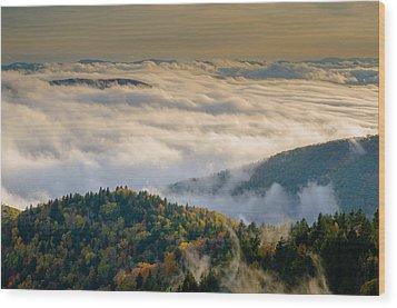 Cloud Valley Wood Print by Serge Skiba