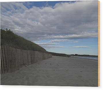 Wood Print featuring the photograph Clouded Beach by Robert Nickologianis