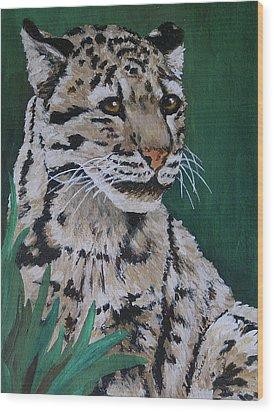 Clouded Leopard Wood Print by Margaret Saheed
