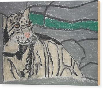 Clouded Leopard Pastel On Paper Wood Print by William Sahir House