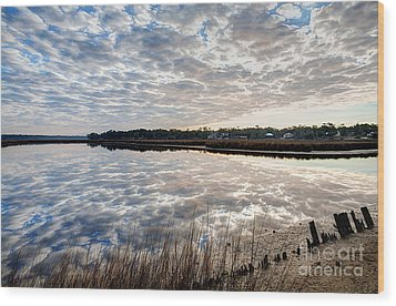 Clouded Reflection Wood Print by Joan McCool