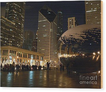 Cloudgate In Snow Wood Print by David Bearden