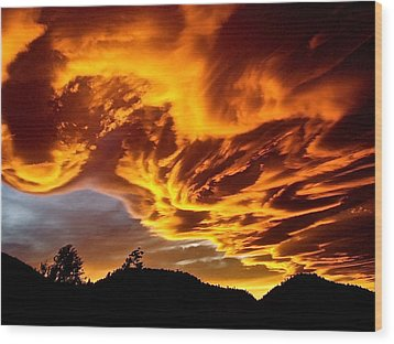 Wood Print featuring the photograph Clouds 2 by Pamela Cooper