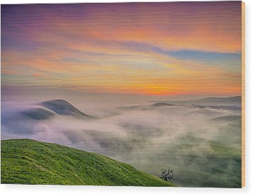 Clouds And Fog At Sunrise Wood Print