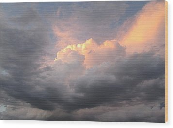 Clouds And God Wood Print by Cathy Long