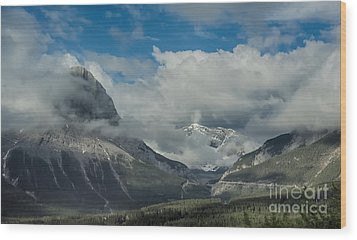 Clouds And Mist Over Canadian Rocky Mountain Peaks Wood Print