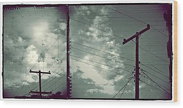 Clouds And Power Lines Wood Print by Patricia Strand