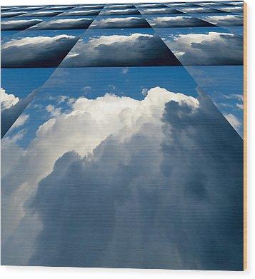 Clouds Ascending Wood Print