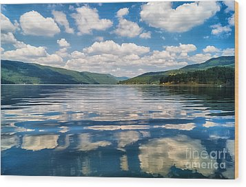 Clouds In The Water Wood Print by Stela Taneva
