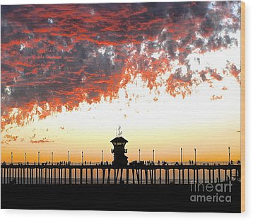 Wood Print featuring the photograph Clouds On Fire by Margie Amberge