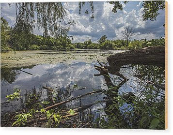 Clouds On The Water Wood Print by CJ Schmit