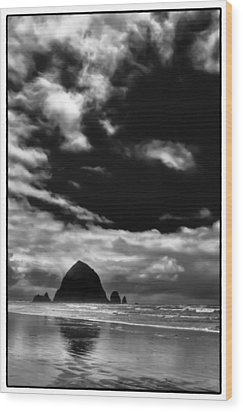 Clouds Over Haystack Rock On Cannon Beach Wood Print by David Patterson