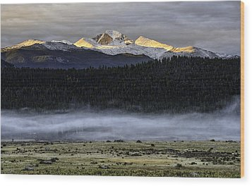 Clouds Over Longs Peak Wood Print by Tom Wilbert