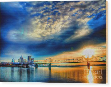 Clouds Over Louisville Wood Print by Darren Fisher