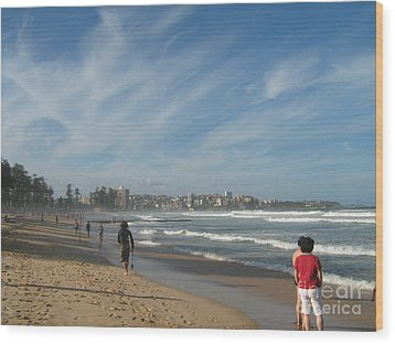Wood Print featuring the photograph Clouds Over Manly Beach by Leanne Seymour