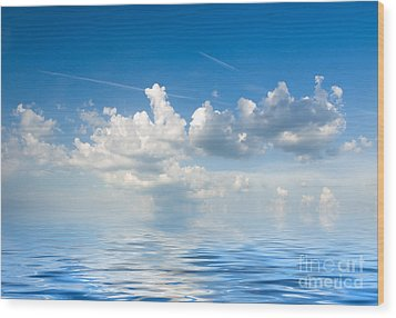 Clouds Over Sea Wood Print by Boon Mee