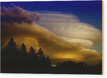 Clouds Over Southern Alberta Wood Print by Jeff Swan