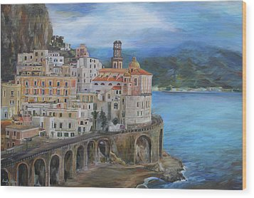 Clouds Over The Amalfi Coast Wood Print