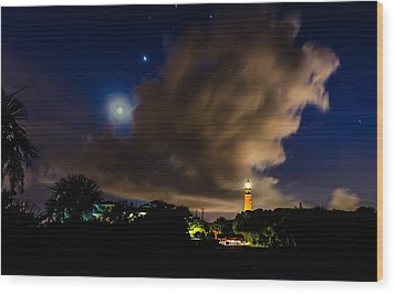 Clouds Over The Lighthouse Wood Print