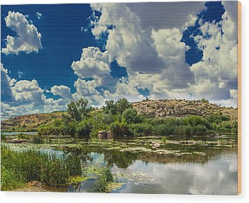Clouds Over The River Wood Print