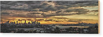 Clouds Rose Over The City Wood Print by Andrei SKY