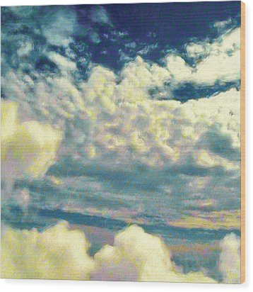 Clouds With Yellow Flecks - Square Wood Print