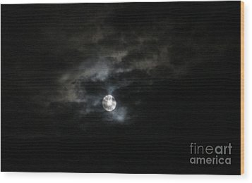 Night Time Cloudy Dark Moon Wood Print