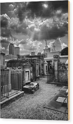 Cloudy Day At St. Louis Cemetery In Black And White Wood Print by Chrystal Mimbs