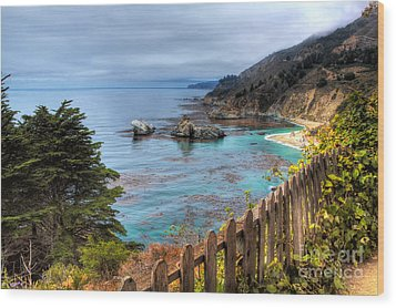 Cloudy Day In Big Sur Wood Print