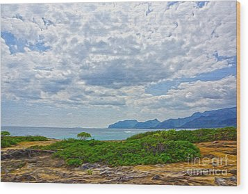Cloudy Day In Oahu Wood Print by Nur Roy