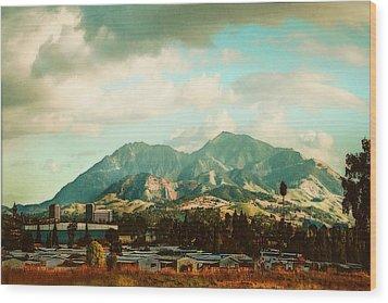 Cloudy Day On Mt Diablo In San Francisco Bay Area Wood Print by Dorothy Walker