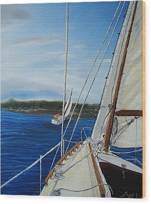 Cloudy Day Sailing Boats Wood Print by Portland Art Creations