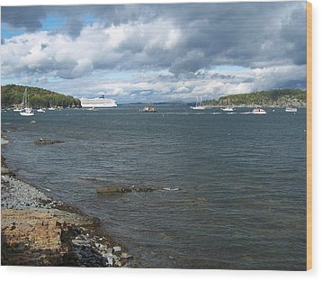 Wood Print featuring the photograph Cloudy Harbor by Gene Cyr