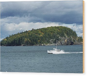 Wood Print featuring the photograph Cloudy Island by Gene Cyr