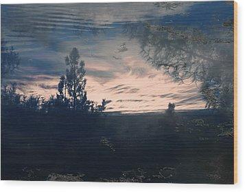 Cloudy Lake Wood Print by Nicole Swanger