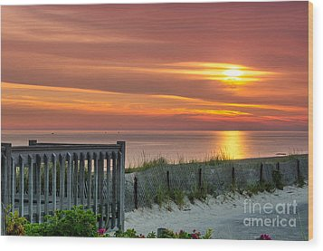 Wood Print featuring the photograph Sandy Neck Beach Sunrise by Mike Ste Marie