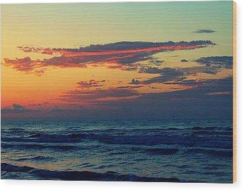 Cloudy Pink Ocean Wood Print