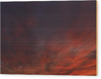 Cloudy Red Sunset Wood Print