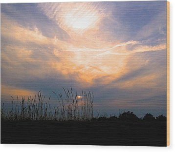 Cloudy Sunrise Wood Print