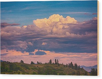 Cloudy Sunset Wood Print by Omaste Witkowski