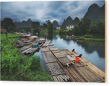 Wood Print featuring the photograph Cloudy Village by Afrison Ma