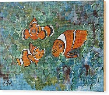 Clown Fish Art Original Tropical Painting Wood Print
