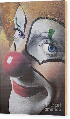 Clown Mural Wood Print by Bob Christopher