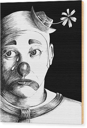 Clown Of Tears Wood Print