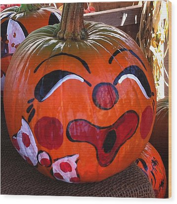 Clown Pumpkin Wood Print by Denyse Duhaime
